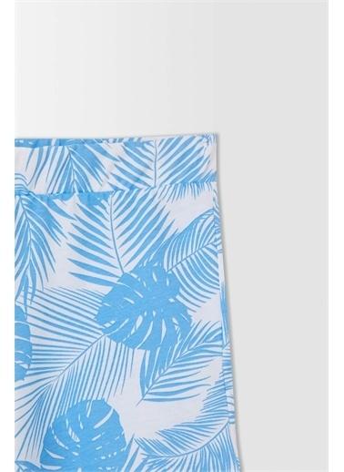 DeFacto Kız Çocuk Palmiye Desenli Esnek Belli Şort Mavi